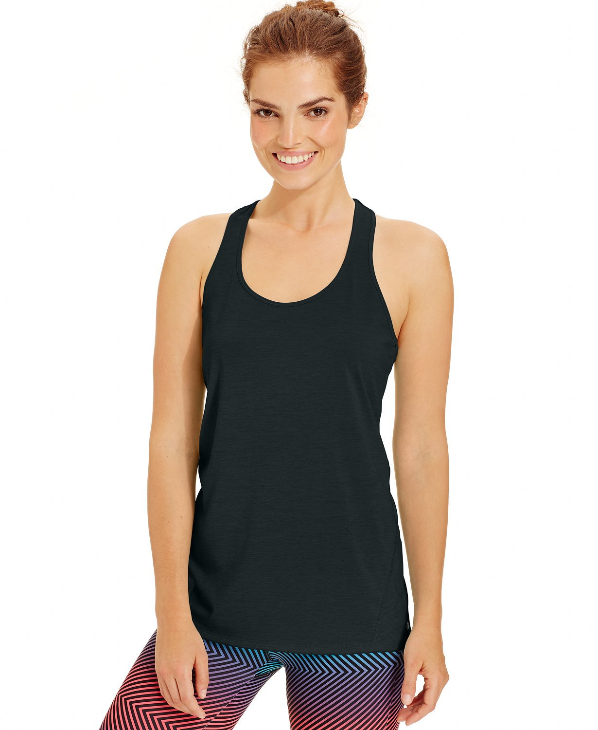 Ideology Womens Heathered Racerback Tank Top Gray XS