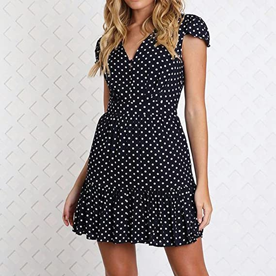 Misaky Womens Summer Polk Dot Dress V Neck Button Loose Summer Casual Dress at Amazon Womens Clothing store: