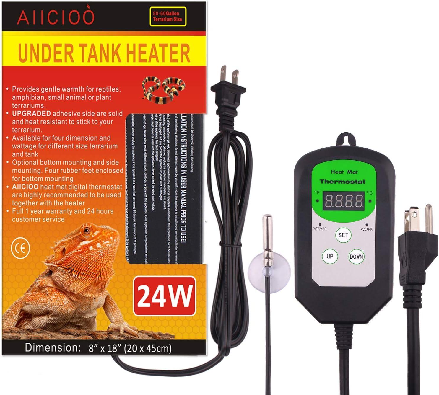 Aiicioo Large Reptile Heating pad with Digital Thermostat - 24 Watt Under Tank Heater with Temperature Control for Reptiles Terrarium
