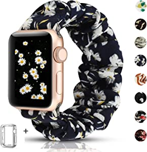 Scrunchie Watch Band Compatible for Apple Watch Band 38mm 40mm,Cute Elastic Wristbands Replacement for iwatch Series 5 4 3 2 1 (Daisy+Series 4/5 case, 38/40mm)