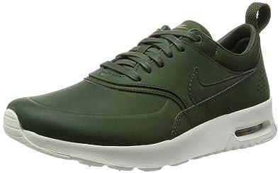 detailed look cd616 cbc57 Nike Damen Air Max Thea Premium Laufschuhe Grün CRBN Grn-Sl-Mtllc Gld)