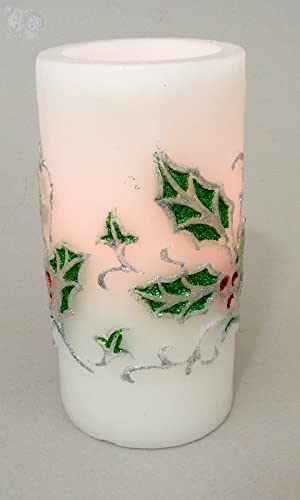 Melrose International LED Safe Flameless White Candle w Holly and Berries 3 Dx6 H