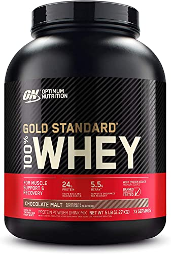 Optimum Nutrition Gold Standard 100 Whey Protein Powder, Chocolate Malt, 5 Pound Packaging May Vary