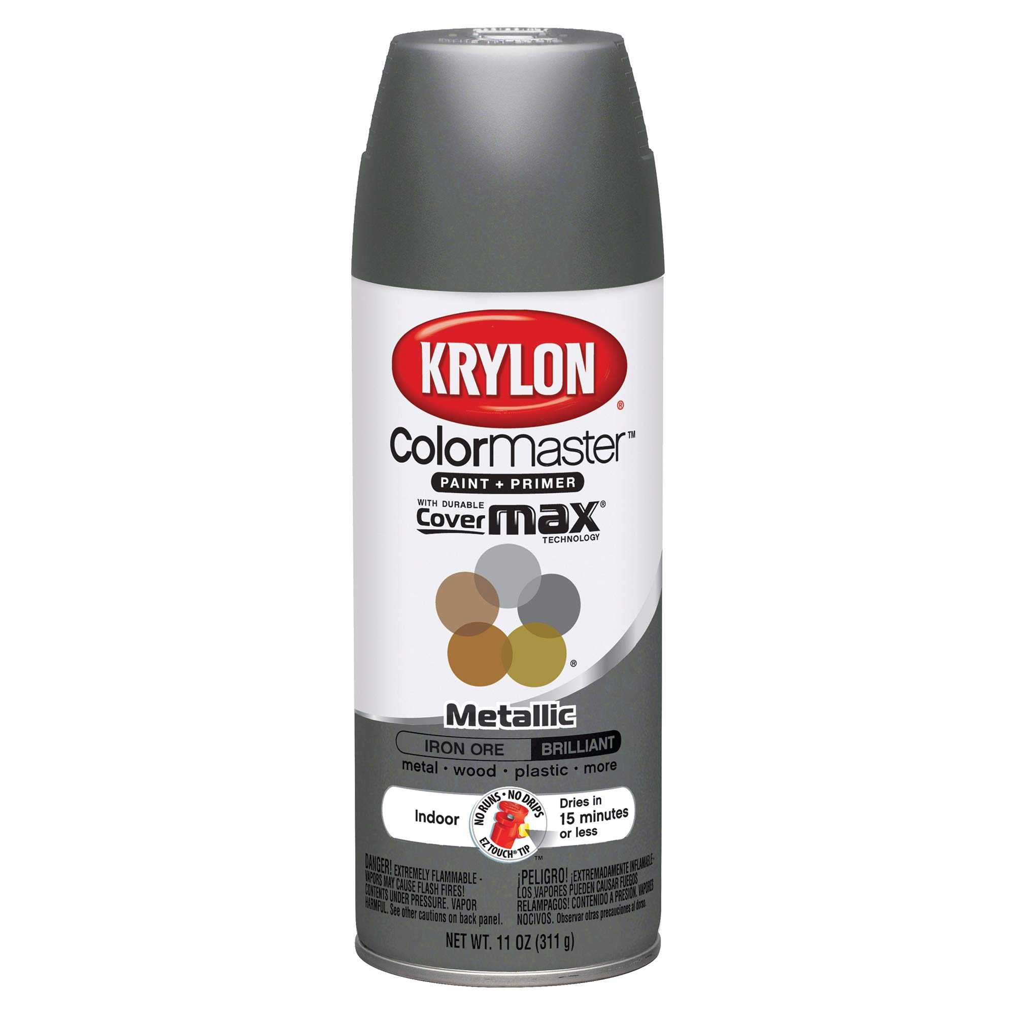 Krylon K05359202 ColorMaster Primer Aerosol Paints, 12oz, Iron Ore