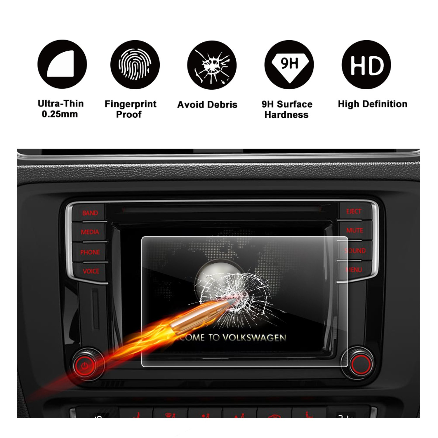 2017 2018 Volkswagen VW Jetta 6.33'' Composition Media Touch Screen Car Display Navigation Screen Protector, R RUIYA HD Clear TEMPERED GLASS Protective Film