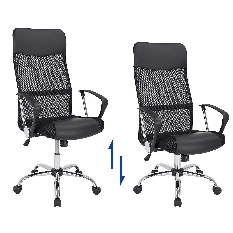 Deuba Silla de Oficina sillón Negro Giratorio ergonómico Asiento en Piel sintética Altura Ajustable Mecanismo oscilación