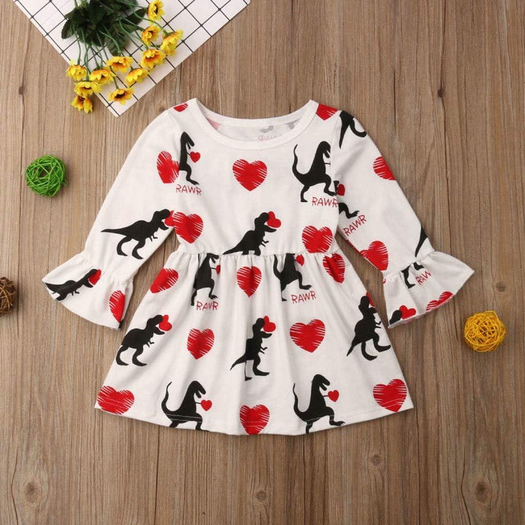 Dingji Baby Girls Long Sleeve Fashion Dress Trumpet Sleeve Valentines Day Skirt