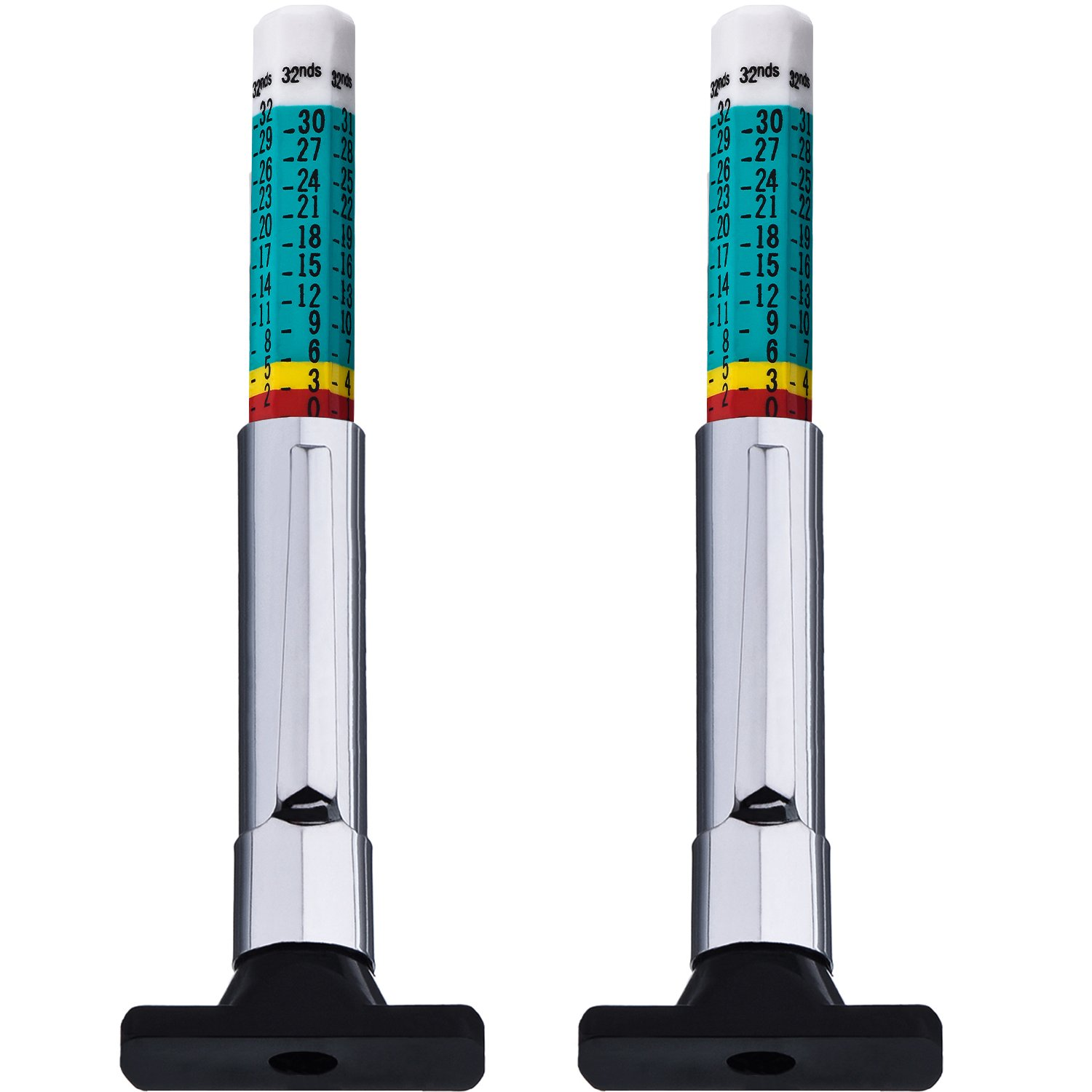 Outus 2 Pack Color Tyre Tread Depth Gauge (Green)