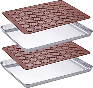 WEZVIX Baking Sheet Set of 2 Stainless Steel Tray Cookie Sheets Toaster Oven Pan Rectangle Size 16 x 12 x 1 inch, Non Toxic, Rust Free & Less Stick, Thick & Sturdy, Easy Clean & Dishwasher Safe