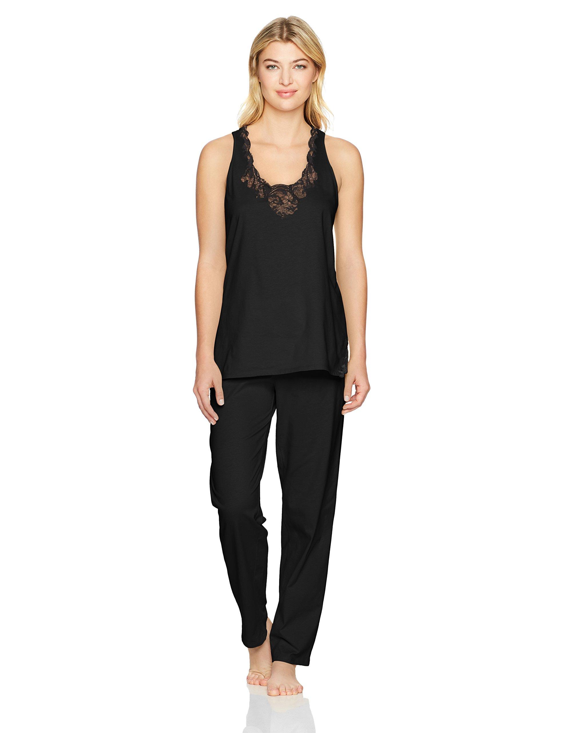Natori Women's Bliss Cotton with Lace Pj, Black, Medium