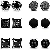 Milacolato 6 Pairs Stainless Steel Stud Earrings set for Men Women Black Cubic Zirconia Earrings Piercing 6MM (B:6 Pairs 4mm)…