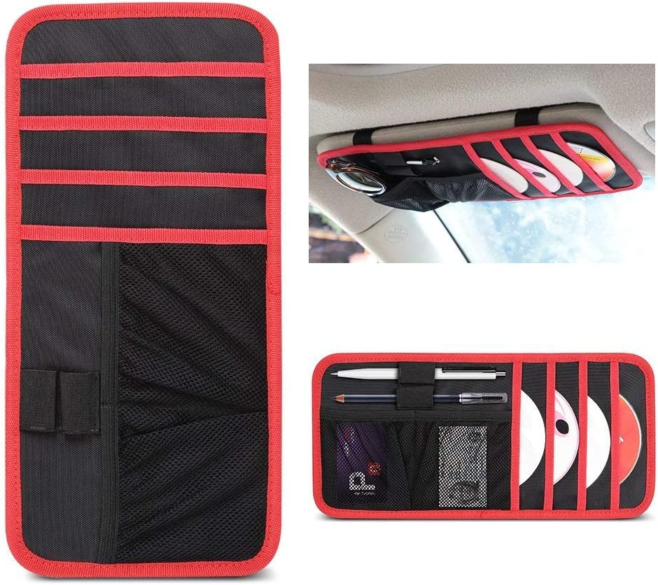 uxcell Beige 12 Compartments Car Sun Visor CD Holder Pocket Organizer Storage Case