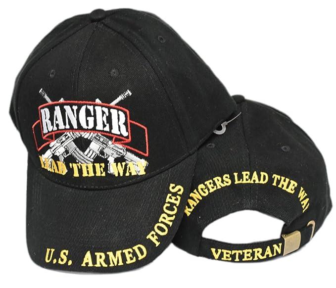 64b7bd1a28e Amazon.com  United States Army Rangers LEAD THE WAY Black Hat Cap ...
