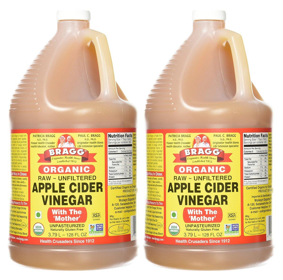 Bragg Organic Raw Apple Cider Vinegar, 128 Ounce, 2 Gallons