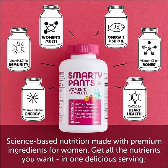 SmartyPants -Completa Multi de las mujeres + Omega 3s + vitamina K2 - 180 gomitas: Amazon.es: Salud y cuidado personal