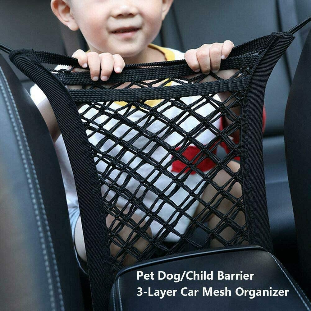 Barrier of Backseat Kids Children Pet Dog Cargo Tissue Handbag Purse Holder 2 Pack Car Mesh Organizer Driver Storage Netting Pouch,3-Layer Car Storage Organizer Seat Back Net Bag Cargo Tissue Handbag Purse Holder