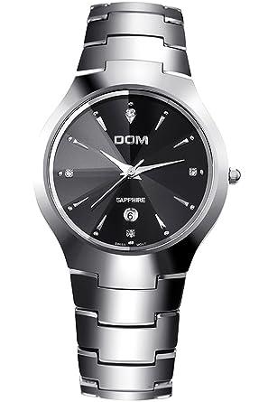 DOM Hombre Plateado lujo acero de tungsteno Marcas de Relojes Analogico Quartz: Amazon.es: Relojes