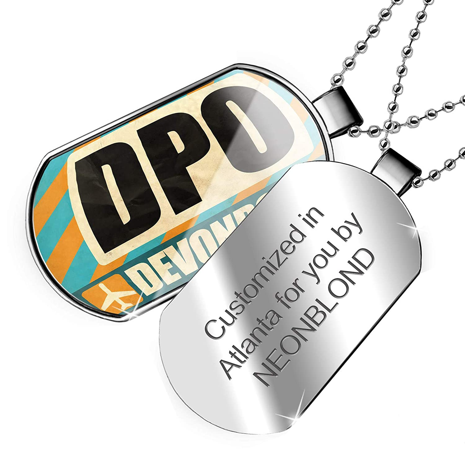 NEONBLOND Personalized Name Engraved Airportcode DPO Devonport Dogtag Necklace