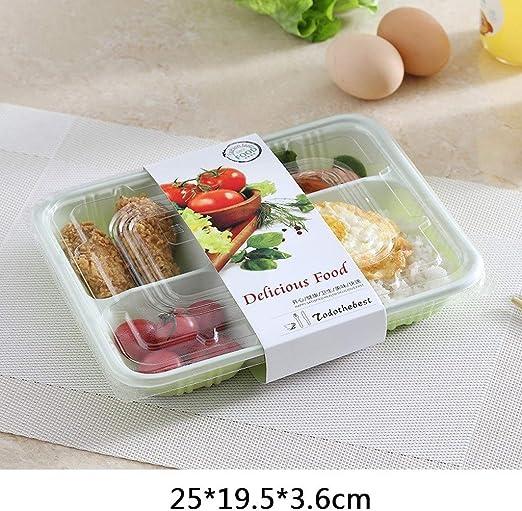 Fiambrera desechable YC Fiambrera plástica desechable 4 5 6 Intervalo Caja de empaque del Restaurante Cena Picnic Vajilla [200 Pack] (Color : Green): Amazon.es: Hogar