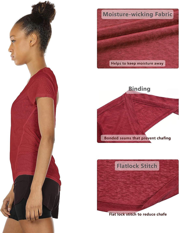 icyzone Donna Apri Indietro Magliette per Yoga Fitness T-Shirt Sportive