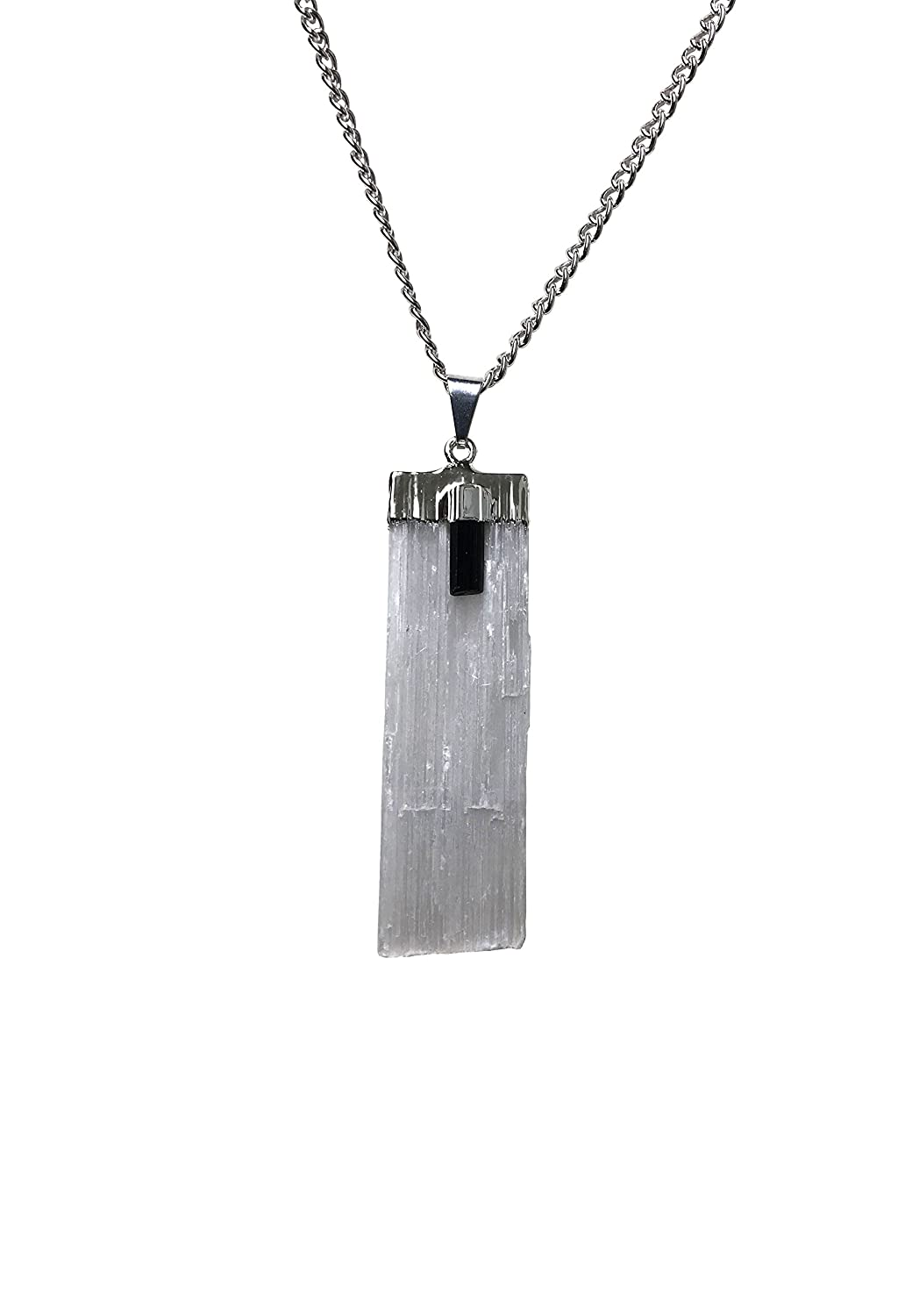 Selenite Pendant with Black Tourmaline Crystal on 20