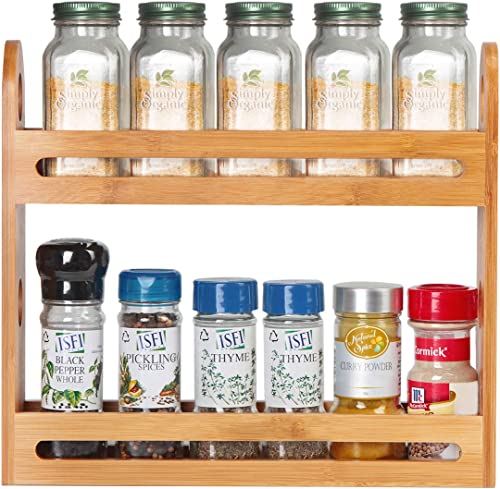 JackCubeDesign Bamboo Spice Rack two tier Kitchen Countertop Worktop Display Organizer Spice Bottles Holder Stand Shelves 12.76 x 2.76 x 10.8 inches MK377A