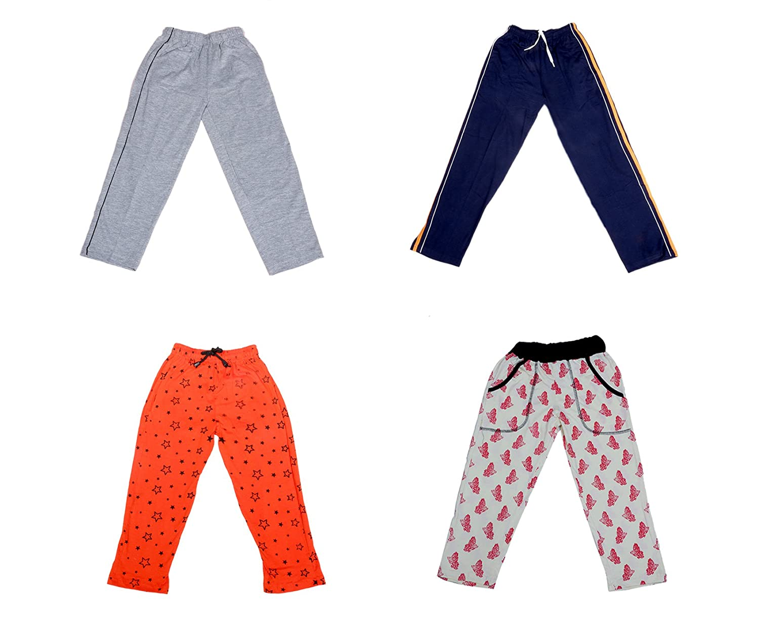 IndiWeaves Girls Premium Cotton Full Length Lower//Track Pants//Pyjamas with 2 Open Pockets Pack of 2