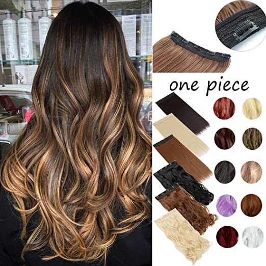 Amazon Com Clip In On Hair Extension One Piece 5 Clips Half Head