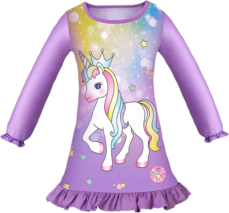 Girls Nightdress Nighties Unicorn Rainbow Fairy Long Short Sleeve Nightgown for Kids Gift