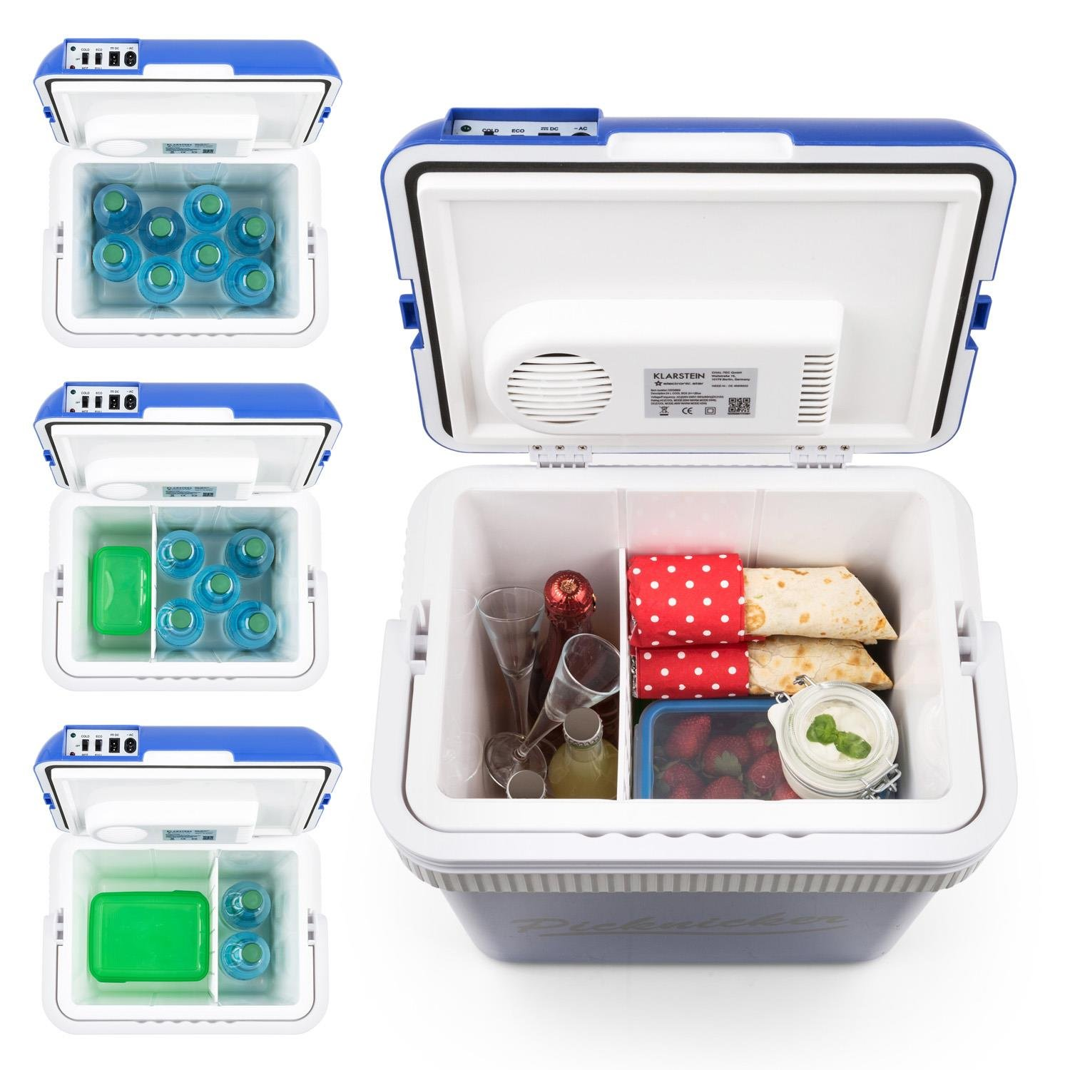 24L, 2 Operating Modes for Cooling and Heating, Environmental Friendly ECO Mode with Energy Efficiency A++, 1 x AC + 1 x DC Power Cable Klarstein Big Picnicker Thermo Cool Box Blue