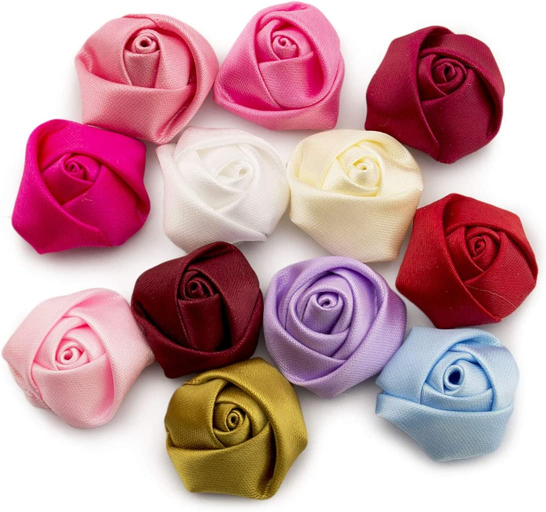 15mm, 200pcs Summer-Ray Mixed Color Satin Roses Rosettes Flower Ribbon Flower DIY Craft Wedding Decorations