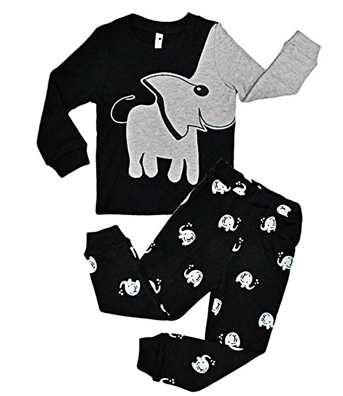 Boys Pajamas Elephant 2 Piece Kids Pjs Sets 100% Cotton Toddler Sleepwears, Black, Size 7