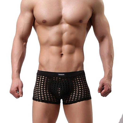 5b516bcad8 Mens Soft Hollow Openwork Lounge Underwear Boxer Shorts Sexy Mesh  Ventilation Trunks Bulge Sports (Black