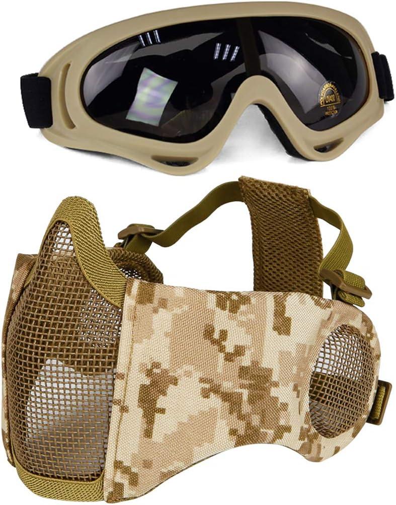 Aoutacc - Juego de protectores para airsoft, media cara, con protección para los oídos y gafas para CS/caza/paintball/tiro