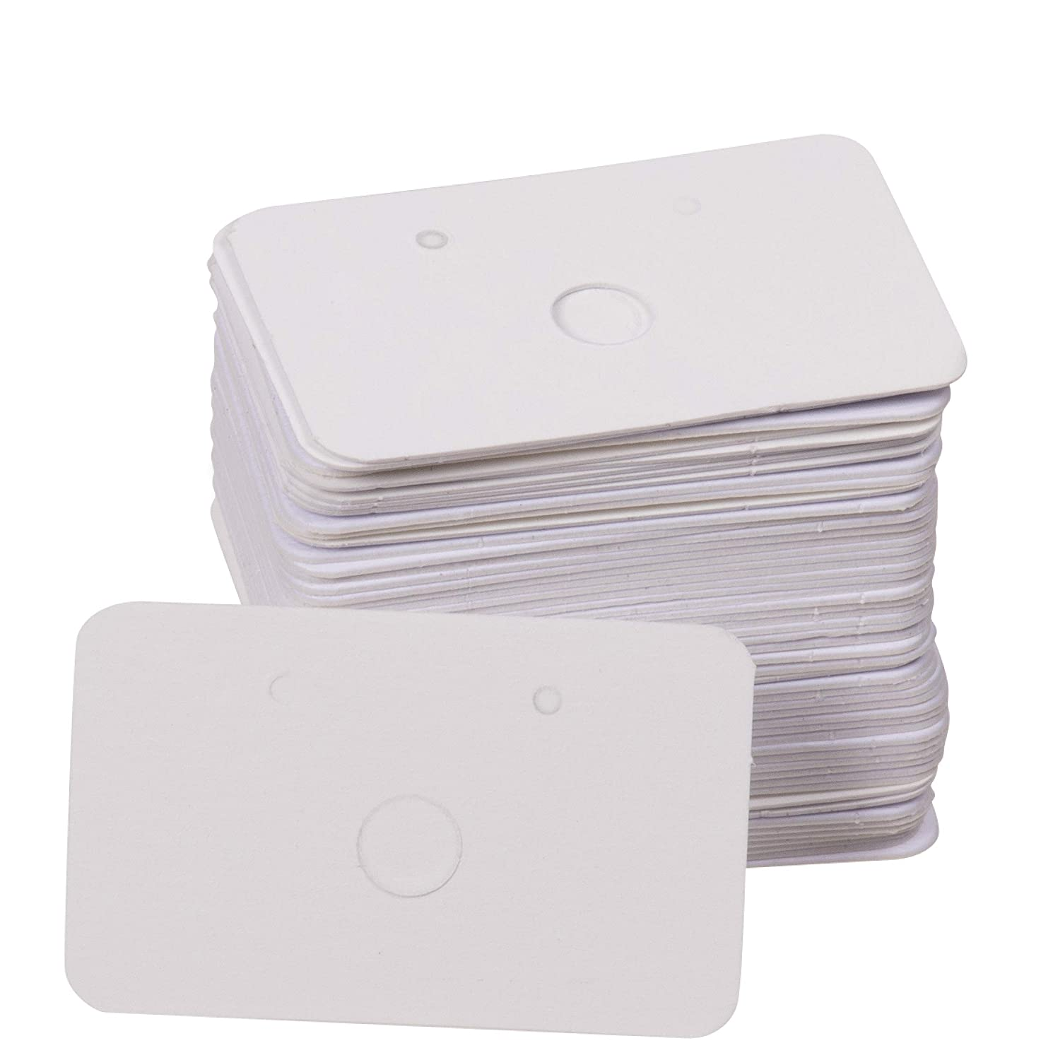 White 1.6 x 1 Inches Paper Hanging Jewelry Display Cards for Earrings Earring Cards Ear Studs 300-Pack Earring Card Holder