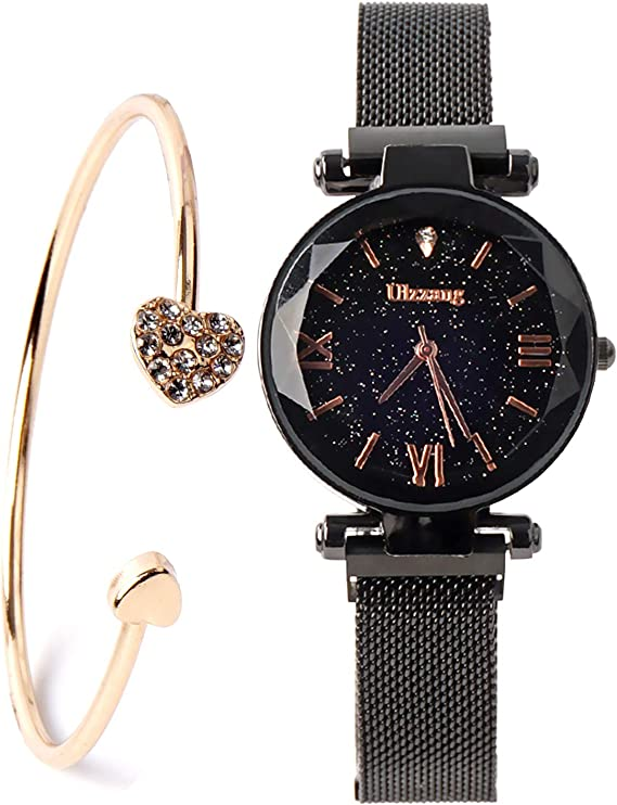 Luxury Quartz Starry Sky Dial Ladies Wrist Watches,Magnetic Mesh Band Watch and Bracelet Set