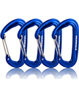 12KN Aluminium Wiregate Carabiners - 4 Pack - Rated 2645 LBS each – 7075 - VANWALK Lightweight Carabiner Clips for Hammock Climbing Rocking