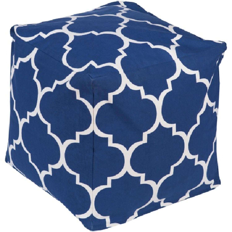 18'' Playhouse Navy Blue and White Quatrafoil Pattern Square Pouf Ottoman