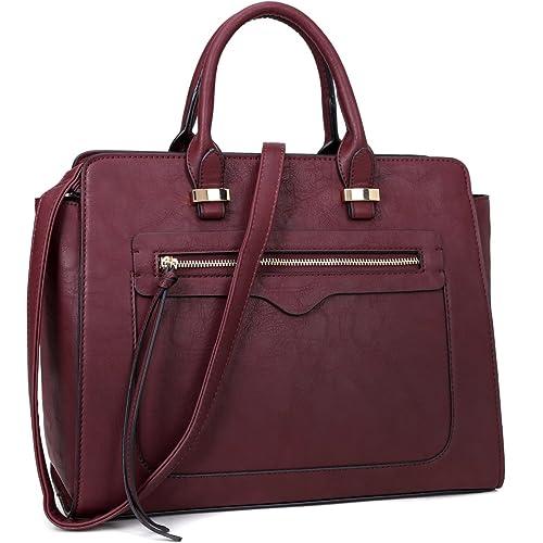 25c36e4c57 Amazon.com  Dasein Women Vegan Leather Handbag Designer Purse Satchel Bag  with Crossbody Strap  Shoes
