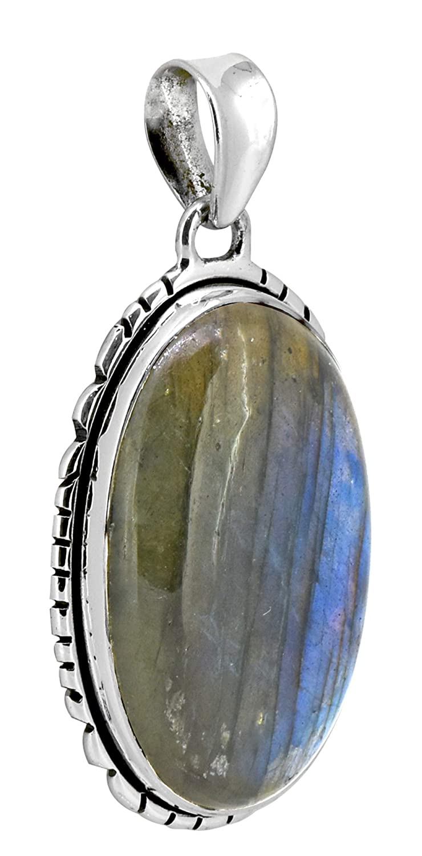 YoTreasure Labradorite Solid 925 Sterling Silver Chain Pendant Jewelry