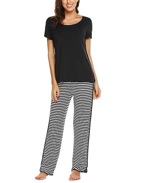 4ae01d79c2c Ekouaer Pajama Set for Women Soft Sleepwear Striped Nightshirt Elastic  Waist Pj Pants Black