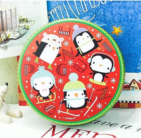 halova caja de lata, Navidad estilo Big circular Cookie Candy para galletas caja de lata Metal Tin Jar contenedores de almacenamiento de alimentos, árbol de Navidad: Amazon.es: Hogar