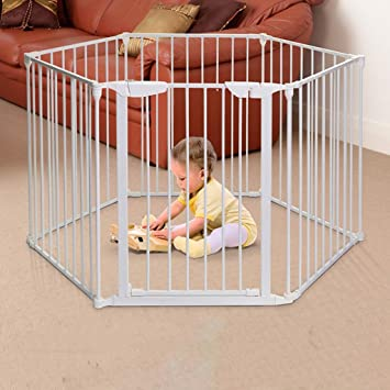 Gefaltetes Baby Laufgitter Mit Tur Home Indoor Outdoor White Metall