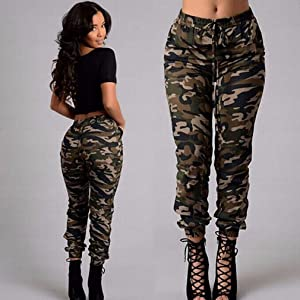 1. Iumer Women's Camouflage Trousers (Stretch Slim Casual Cargo Pencil Pants)