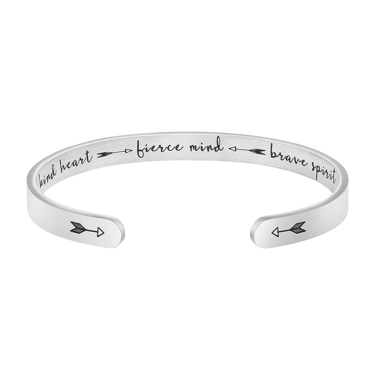 Joycuff Inspirational Jewelry Engraved Mantra Cuff Gifts for Women for Men Friend Encouragement Bangle Kind Heart Fierce Mind Brave Spirit Bracelet
