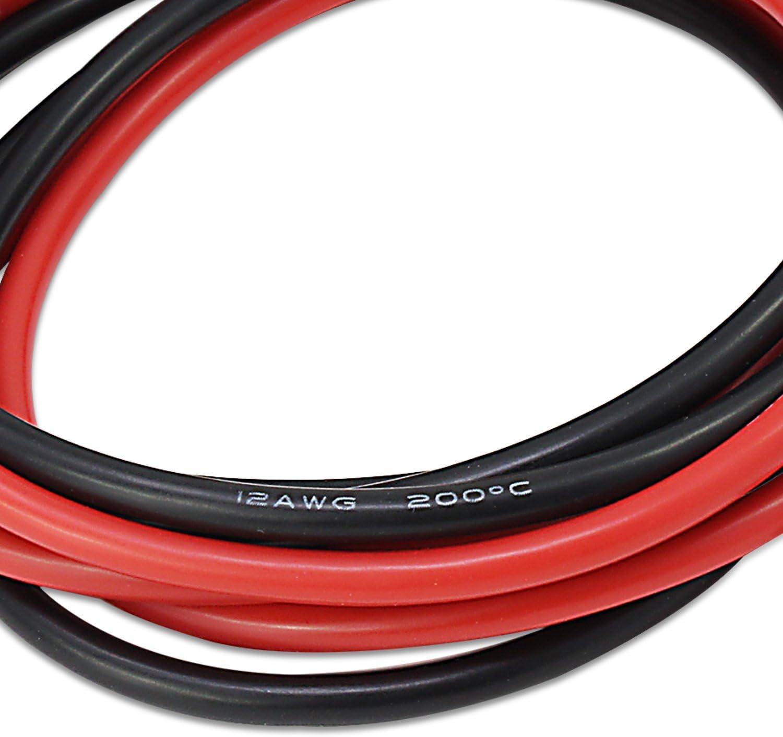 Psmgoods 10 Füße 12 Gauge Silikon Draht Super Flexible Silikon Gummi Draht Kabel 12 Awg Silikon Draht 5 Füße Rot 5 Füße Schwarz 12 Gauge Elektronik