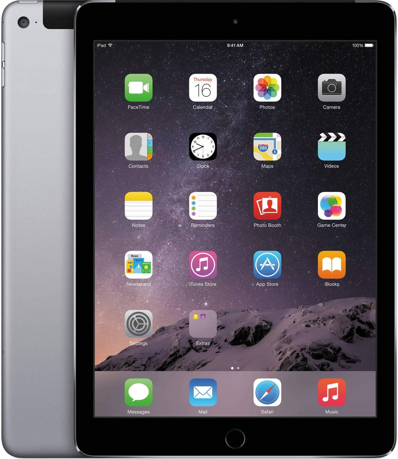 Apple iPad Air 2 64GB, Wi-Fi and Cellular (Unlocked), 9.7inch Space Gray [Refurbished]