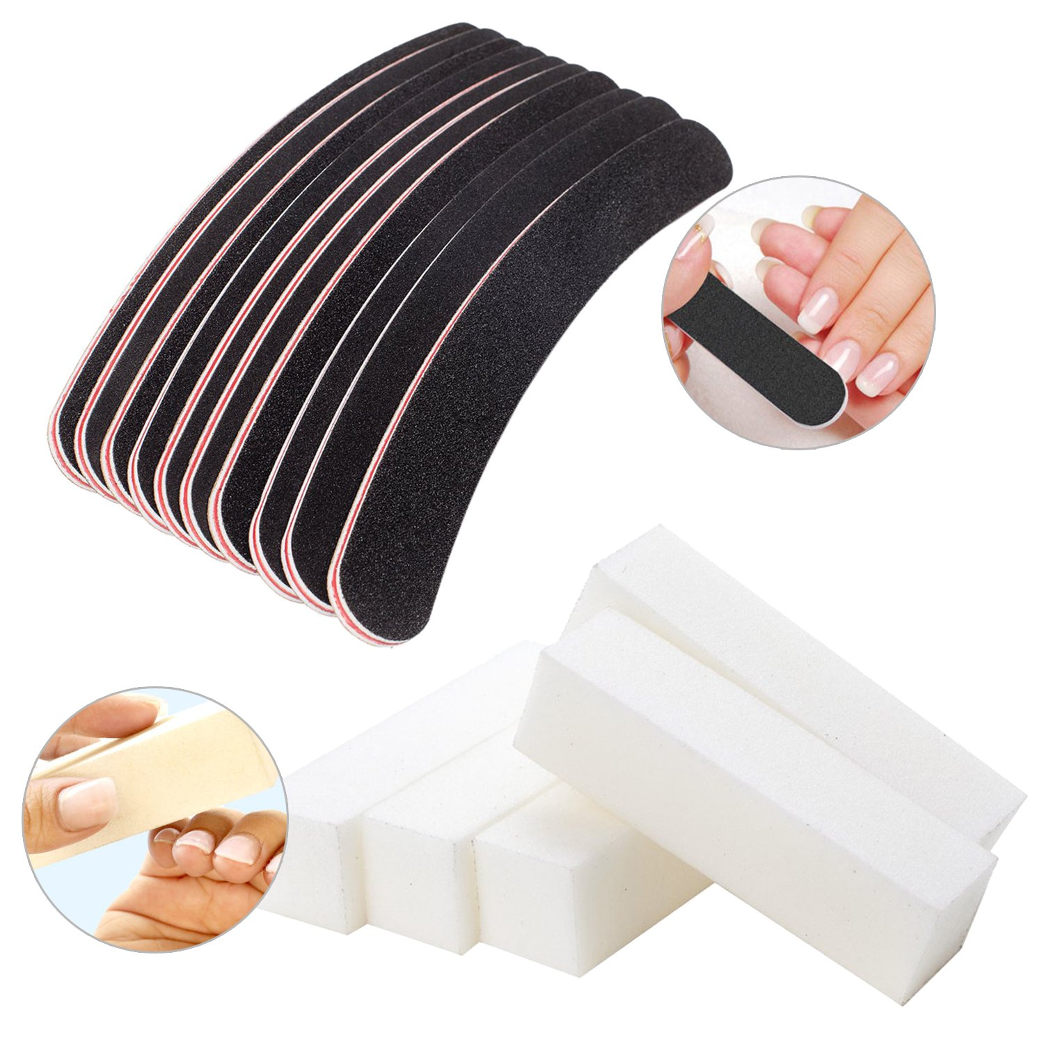 Fantastic Deal Set Kit of Professional High Quality Manicure Pedicure Nail Art Accessories Tools Including 5pcs White Buffers / Sanding / Buffing Blocks 100/100 And 10pcs Curved Banana / Boomerang Files / Filers By VAGA