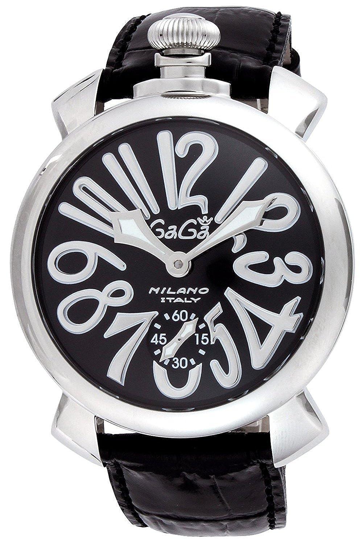 Gaga Milano腕時計Manyuare 48 mmブラックダイヤルカーフレザーベルトHand Windingスイス製5010.04s-blkメンズParallel import goods ] B01LPHAEPW