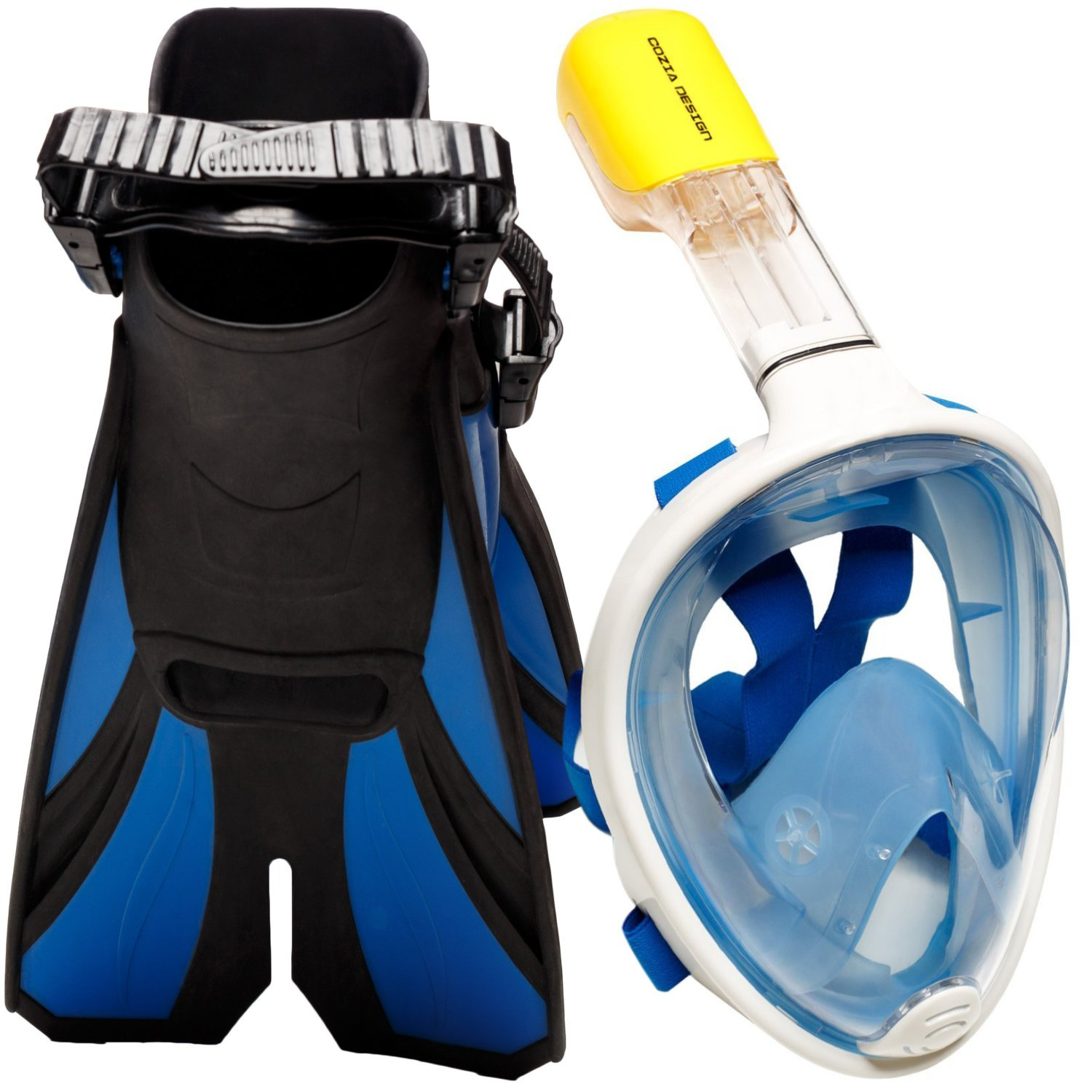 COZIA Design Snorkel Set with Snorkel MASK Swim FINS Included Free Breathing Snorkel MASK Full FACE 180 Panoramic View Full face Snorkel mask and Open Heel Snorkel fins Blue Large